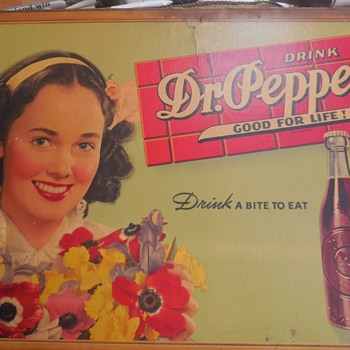 Dr. Pepper cardboard signs.  - Advertising