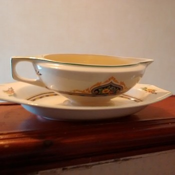 J & G Meakin England Sol Gravy Boat and drip tray without damage and an artist mark - China and Dinnerware