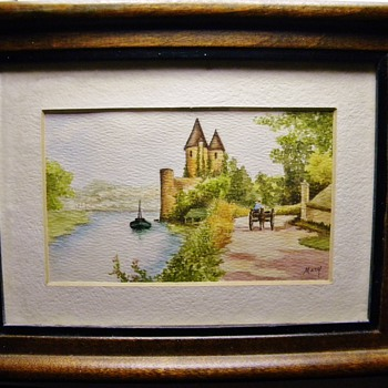 "Vintage Antique OriginalDrawing of a Castle?  Germany?  signed ""Mary"" Picture"