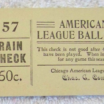 Chicago League Ball Club Rain Checks - Baseball