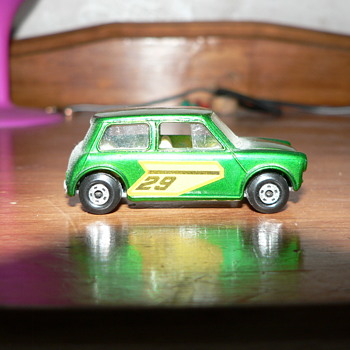 Superfast racing Mini in Factory green .