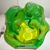 Green Abstract Art Glass Bowl