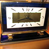 Waltham Blue Glass Art Deco Clock