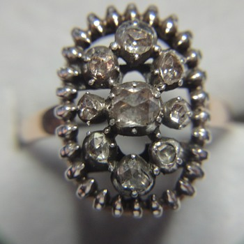 Victorian ring, rose cut diamonds set in silver - Fine Jewelry