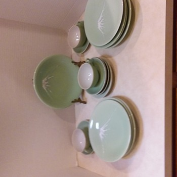 Vintage Japanese Mt Fugi Celadon China Set - Asian