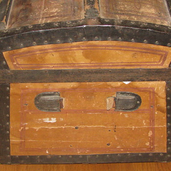Civil War Era Embossed Paper Jenny Lind Trunk - Furniture