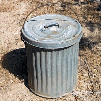 "Vintage Small Galvanized Trash Can 18"" Tall - Tools and Hardware"