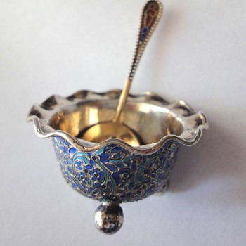 Russian enamel gold plated salt spoon - Sterling Silver