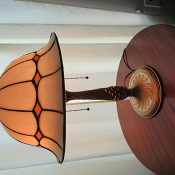 Leaded Glass Lamp Shade, Unusual Doughboy Helmet shape