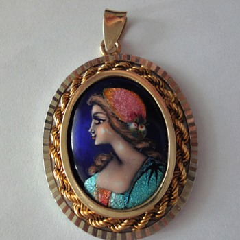 Limoges Enameled Pendant Rare Gold and Silver Setting  - Fine Jewelry