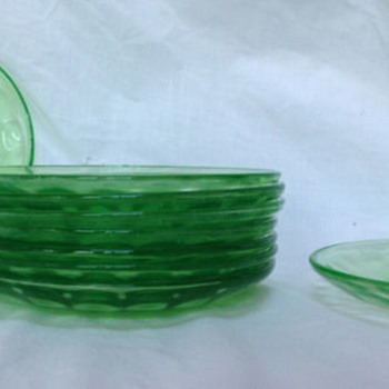 "Set of 9 Federal Depression Glass 5 1/2"" Saucers 