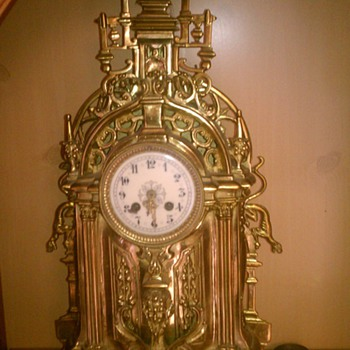 Cool Very Large Old Gothic Style Gold Clock  - Clocks