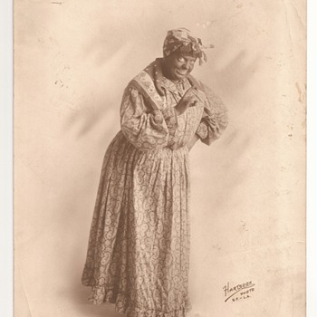 Photo of Silent film/Vaudeville actor as woman in blackface from Hartsook Photo SF-LA