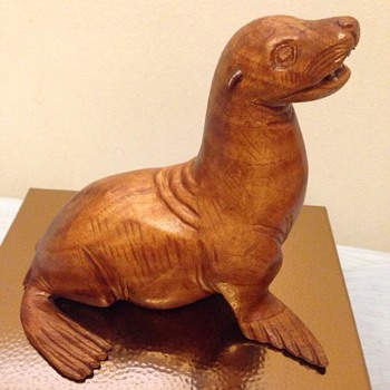 Carved wood sealion