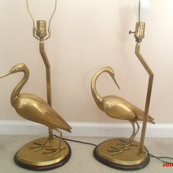 Vintage Wildwood brass heron lamps - Lamps