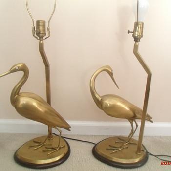 Vintage Wildwood brass heron lamps - Lamps