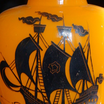 Czechoslovakian Silver Overlay Orange Tango Vases With Ship Silhouette - Art Glass