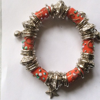 Unusual glass and silver bracelet