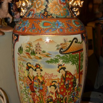 "Very Large Satsuma [?] Vase - 24"" - Asian"