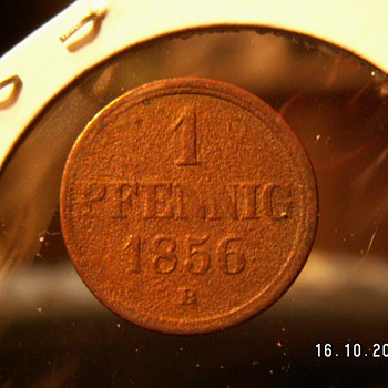 1856 Germany 1 Pfennig  (Brunswick-Wolfenbüttel) - World Coins