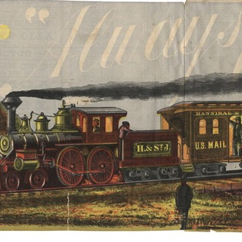 Antique Train Hannibal & St Joesph Railroad Illustrated Timetable map - Railroadiana