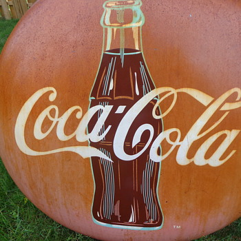 "Metal Tin 36"" Coca-Cola Coke Bottle Button Ball Die Cut Sign"
