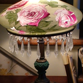Victorian Lamp With Hand-Painted Roses - Lamps