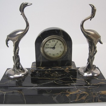 Florn Art Deco Flamingo Desk Clock, 1935 - 40 Germany - Art Deco