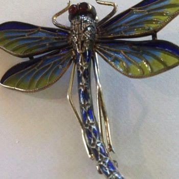 Art nouveau enamel dragonfly pin. What maker is MM?