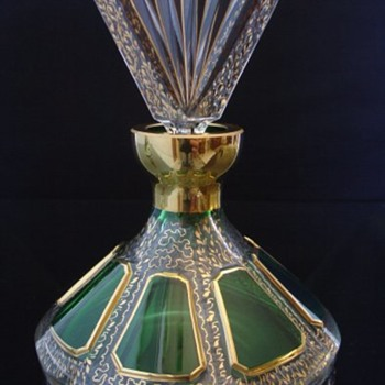 Green and Gold Paneled Glass Perfume Bottle aka Slat aka Listovane aka Listovacka - Bottles