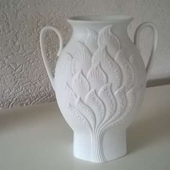 AK Kaiser Germany Bisque Porcelain Vase Signed Manfred Frey 1980s