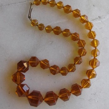 1920's-30's topaz glass necklace - Costume Jewelry