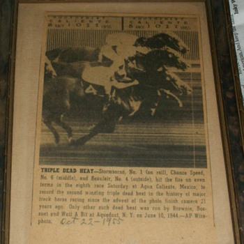 "Antique ""Triple Dead Heat"" Article & Frame"