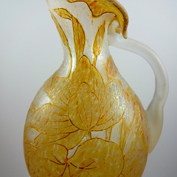 Kralik enameled  oil spot cameo glass JIP pitcher, ca. 1900 - Art Glass