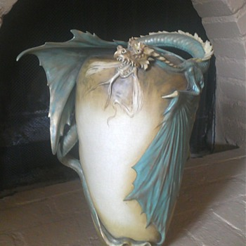 Amphora Dragon Vase - Art Pottery