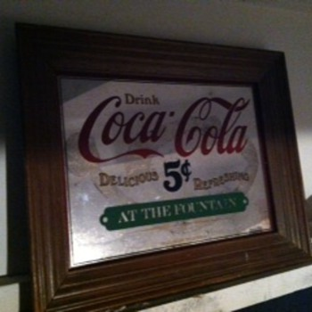 Coca Cola Mirror in frame  - Coca-Cola