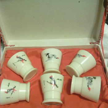 Novelty Sake Cups with veiwing glass at bottom of cup with photo of Geisha Girl