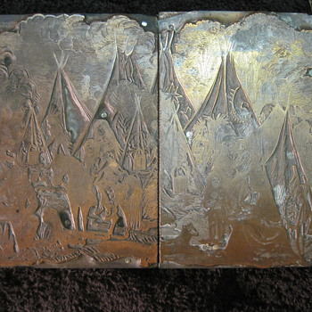 1800's Copper Engraved Wood Printing Blocks - Office