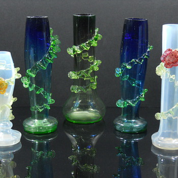Art glass vases with vaseline rigaree. Bohemian? - Art Glass