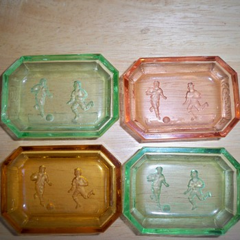 Czech salt cellars unusual soccer intaglio