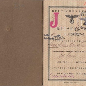 "German Nazi passport with infamous stamp ""J"" for Jew"