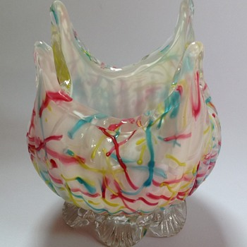 Victorian Peloton glass bowl with peaked top & applied feet