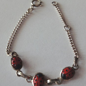 Sterling Silver enameled Ladybug bracelet for a baby or little lady