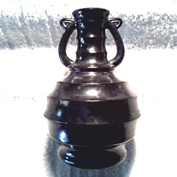 Small Matte Black Glass Bottle with Handles/ Unknown Maker and Age - Glassware