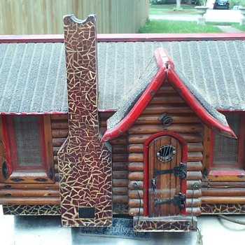 Folk art log cabin am radio