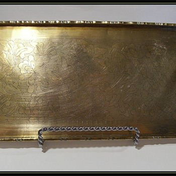 BRASS - Small Tray with Design, and marked