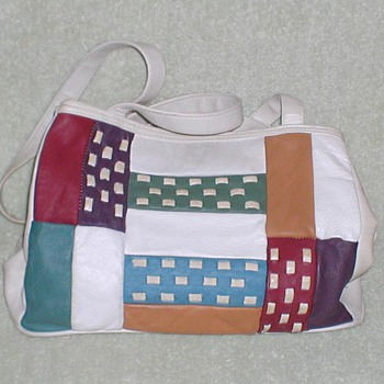 Ladies Leather Color Block Handbag 1