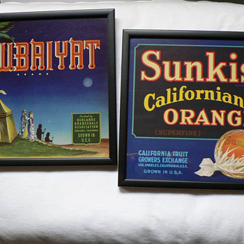 Sunkist California Oranges and Rubaiyat crate labels - Advertising
