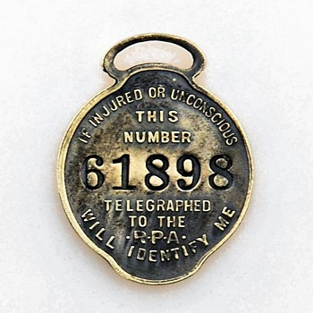 Ridgely Protective Association Insurance IdentityTag. Worchester,Worchester, Mass - Pocket Watches