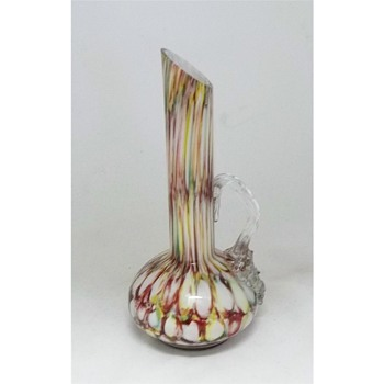Antonin Rückl & Sons Rainbow Honeycomb Ewer & Previously Identified Ruckl Decor - Art Glass